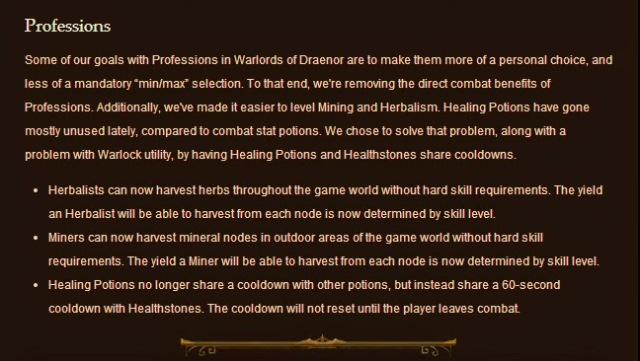 World of Warcraft Professions Patch Notes